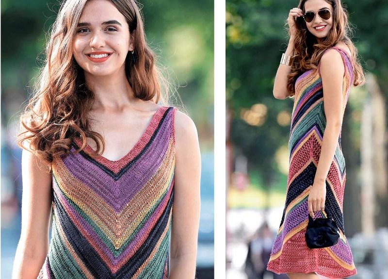 летнее вязанное платье